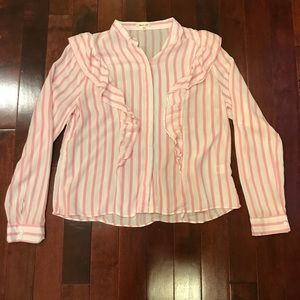 bleuh ciel Pink Striped Ruffle Button Down Shirt